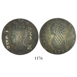 """Barbados, copper penny, 1788 (large head, large pineapple) with merchant countermark """"M Ward"""" (twice"""