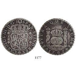 Potosi, Bolivia, pillar 8 reales, Charles III, 1767JR, six-petal rosette below shield, very rare var