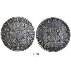 Potosi, Bolivia, pillar 8 reales, Charles III, 1770/69JR, rare.