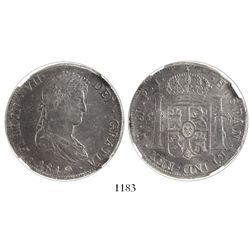 Potosi, Bolivia, bust 8 reales, Ferdinand VII, 1819PJ, encapsulated NGC AU 55.