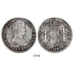 Potosi, Bolivia, bust 8 reales, Ferdinand VII, 1821PJ.