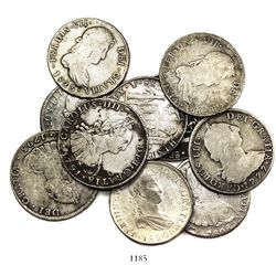 Large lot of 10 Potosi, Bolivia, bust 8 reales, Charles III through Ferdinand VII, various dates.