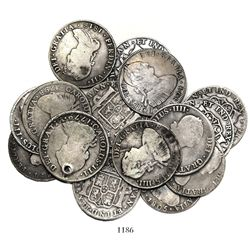 Large lot of 16 Potosi, Bolivia, bust 4 reales, Charles III through Ferdinand VII, various dates.