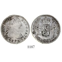 Potosi, Bolivia, bust 2 reales, Charles III, 1776PR, popular date.