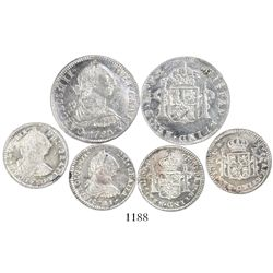 Lot of 3 Potosi, Bolivia, bust 2R and 1R, Charles III: 2R, 1780/79PR; 1R, 1780PR; and 1R, 1781PR.