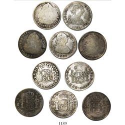 Lot of 5 Potosi, Bolivia, bust 2 reales, Charles III and IV, various dates.