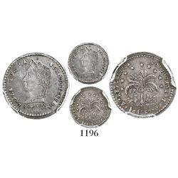 """Potosi, Bolivia, 1/2 sol, 1859FJ, """"BOLIVRA"""" error, encapsulated PCGS genuine / damage / AU details,"""
