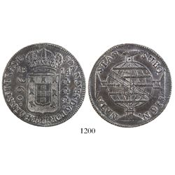 Brazil (Bahia mint), 960 reis, Joao Prince Regent, 1814-B, struck over a Spanish colonial bust 8 rea