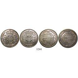 Lot of 2 Brazil (Bahia mint), 960 reis, Joao Prince Regent, 1815-B and 1816-B, both struck over Span