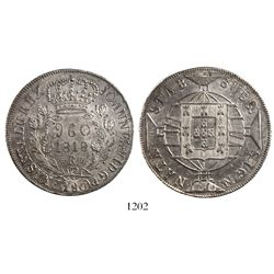 Brazil (Rio mint), 960 reis, Joao Prince Regent, 1818-R, struck over a Spanish or Spanish colonial b