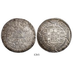 Brazil (Rio mint), 960 reis, Joao Prince Regent, 1818-R, struck over an Argentina (River Plate Provi