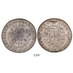 Brazil (Rio mint), 960 reis, Joao Prince Regent, 1818-R, struck over a Potosi, Bolivia, bust 8 reale