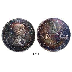 Canada, 1 dollar, Elizabeth II, 1963, encapsulated PCGS MS65+.