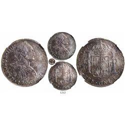 "Santiago, Chile, bust 8 reales, Charles IV, 1796DA, ""CRAROLVS"" error (C/R), encapsulated NGC MS 62,"