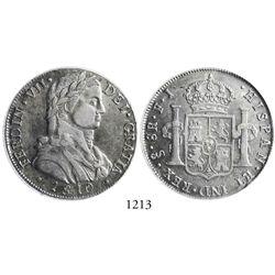Santiago, Chile, bust 8 reales, Ferdinand VII (military bust), 1810FJ, encapsulated PCGS AU53.