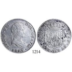 Santiago, Chile, bust 8 reales, Ferdinand VII, 1814FJ, encapsulated PCGS genuine / cleaning / AU det