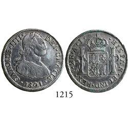 Santiago, Chile, bust 2 reales, Charles IV, 1801AJ.