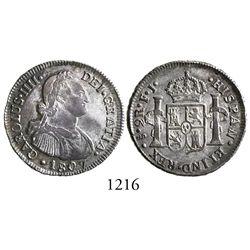 Santiago, Chile, bust 2 reales, Charles IV, 1807FJ.