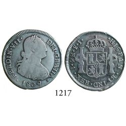 Santiago, Chile, bust 2 reales, Ferdinand VII, 1809FJ.
