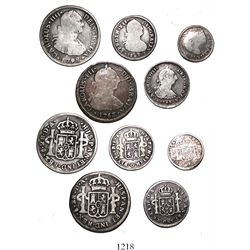 Lot of 5 Santiago, Chile, bust-type minors of Charles III and IV and Ferdinand VII, all interesting