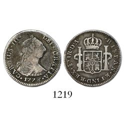Santiago, Chile, bust 1 real, Charles III, 1778/7DA.