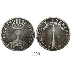 """Santiago, Chile, """"volcano"""" 2 reales, 1834IJ."""