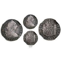 Bogota, Colombia, bust 2 reales, Charles III, 1772VJ, encapsulated NGC F 12, rare, ex-Ortiz Murias.
