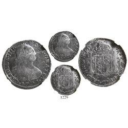 Bogota, Colombia, bust 2 reales, Charles IV, 1792JJ, encapsulated NGC F 12, rare, ex-Ortiz Murias.