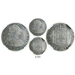 Bogota, Colombia, bust 2 reales, Charles IV, 1793JJ, encapsulated NGC F 12, very rare, ex-Ortiz Muri