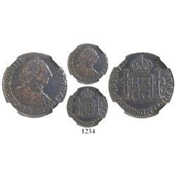 Bogota, Colombia, bust 1 real, Charles III, 1773VJ, encapsulated NGC VF 35, rare.