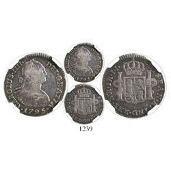 Bogota, Colombia, bust 1 real, Charles IV, 1795JJ, encapsulated NGC VG 8, ex-Ortiz Murias.