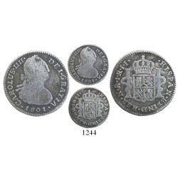 Bogota, Colombia, bust 1 real, Charles IV, 1801JJ, scarce.