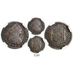 Bogota, Colombia, bust 1 real, Charles IV, 1802JJ, encapsulated NGC VF 20, ex-Ortiz Murias.