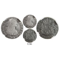 Bogota, Colombia, bust 1 real, Charles IV, 1804JJ, encapsulated NGC VF 20, rare, ex-Ortiz Murias.
