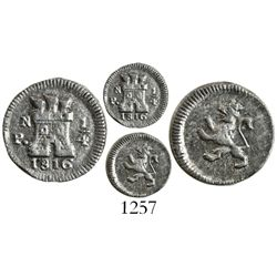 Popayan, Colombia, 1/4 real, 1816, mintmark PN.