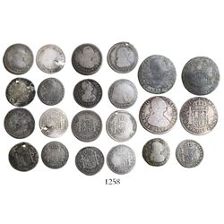 Lot of 11 Colombian bust silver minors, Charles III through Ferdinand VII, various mints and dates (