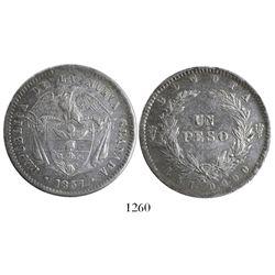 Bogota, Colombia, 1 peso, 1857.