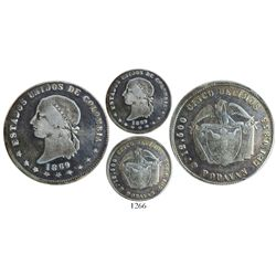 Popayan, Colombia, 5 decimos, 1869, extremely rare, finest known.