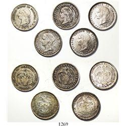 Lot of 5 Colombian 50 centavos / 5 decimos, various mints and dates (Bogota: 1872, 1874 denomination