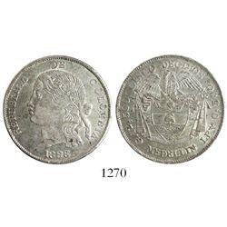 """Medellin, Colombia, 5 decimos, 1888, """"mulatta"""" head."""