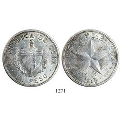 """Cuba, """"star"""" peso, 1915."""