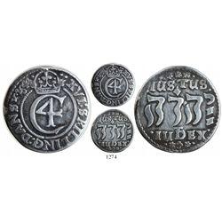 "Denmark, 16 skilling, 1644, mintmark at bottom below ""Jehovah"" in Hebrew."