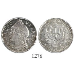 Dominican Republic, 1 franco, 1891A, encapsulated PCGS AU55.