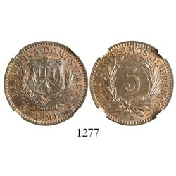 Dominican Republic, bronze 5 centesimos, 1891A, encapsulated NGC MS 64 BN, second finest known in NG