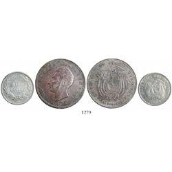 Lot of 2 Ecuador silver coins (1 sucre and 1/2 decimo) of 1884-HEATON BIRMINGHAM.