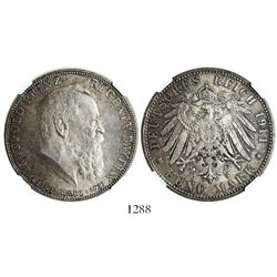 Bavaria (German States), 5 mark, 1911D, encapsulated NGC MS 62.