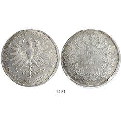 Frankfurt (German States), 2 thaler, 1841, eagle, encapsulated NGC UNC details / surface hairlines.