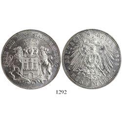 Hamburg (German States), 5 mark, 1898-J, encapsulated PCGS MS63.