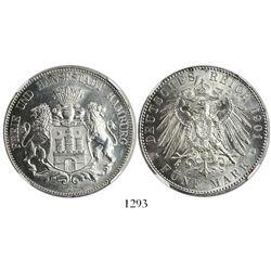 Hamburg (German States), 5 mark, 1901-J, encapsulated NGC MS 64.