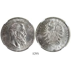 Prussia (German States), 5 mark,  Friedrich III, 1888A, encapsulated NGC MS 64.